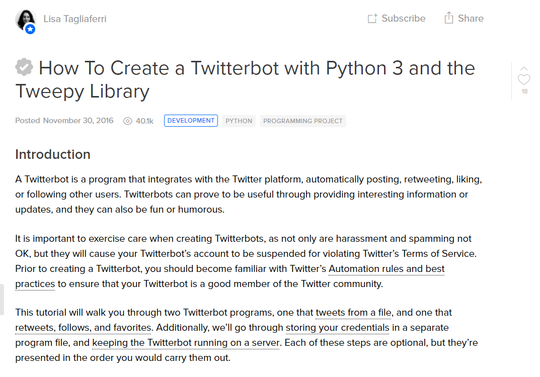 Programing language python botwiki how to create a twitterbot with python 3 and the tweepy library baditri Images