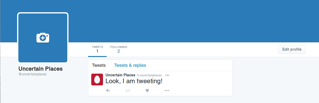 Your bot's first tweet