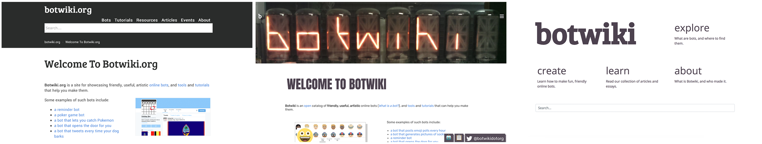 Botwiki over the years