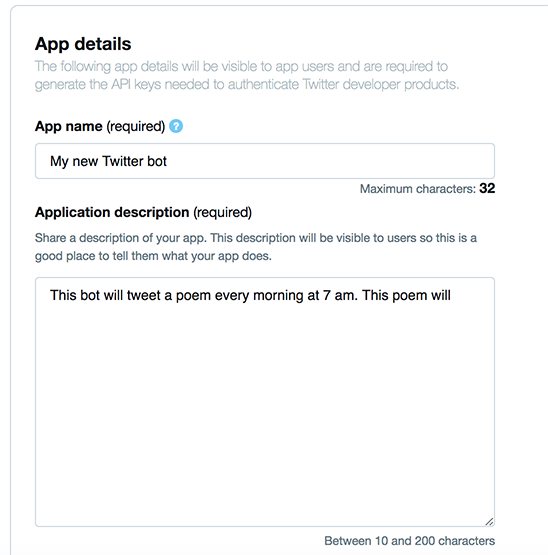 How to create a Twitter app | Botwiki