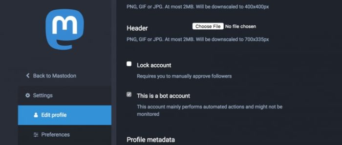 """Screenshot from Mastodon's Edit Profile page showing various options, including """"This is a bot account""""."""
